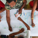 'Marrons from the river Andirá, community Barreirinha, producing a sketch during mapping workshop together