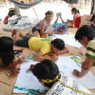 Indigenous Kaxinawa from Rui Humaitá producing sketches during mapping workshop